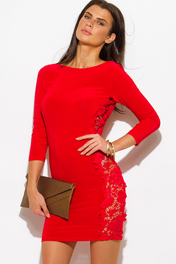 $15 - Cute cheap lace fitted party mini dress - red crochet lace contrast open back bodycon fitted sexy clubbing mini dress