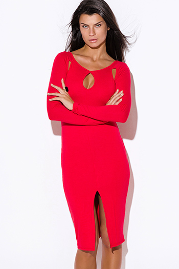 $20 - Cute cheap crochet back red knit sleeveless sweater - red cut out neck long sleeve high slit bodycon fitted open back sexy club party midi dress