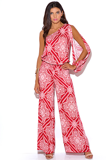 $30 - Cute cheap red yellow abstract print strapless sexy party jumpsuit 79510 - red ethnic print one shoulder resort wide leg boho jumpsuit