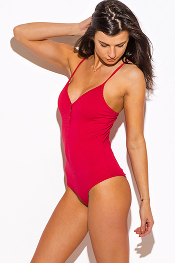 $10 - Cute cheap top - red fitted henley bodysuit tank top