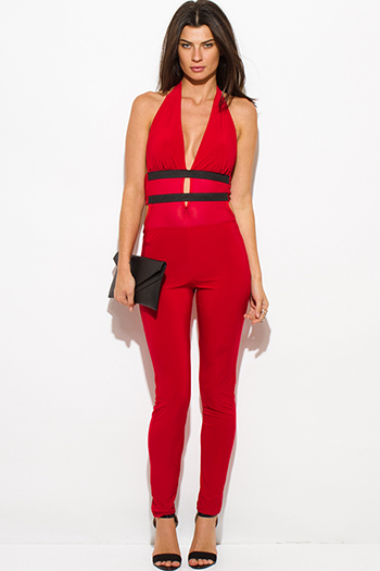 $15 - Cute cheap mesh backless fitted party jumpsuit - red halter deep v neck banded mesh contrast backless bodycon fitted sexy clubbing catsuit jumpsuit