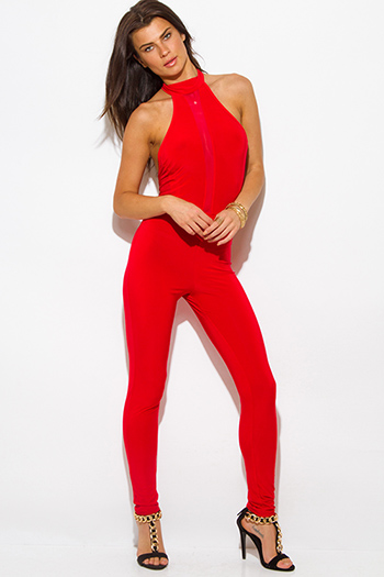 $20 - Cute cheap stripe mesh fitted catsuit - red halter high neck backless mesh panel fitted bodycon sexy clubbing catsuit jumpsuit