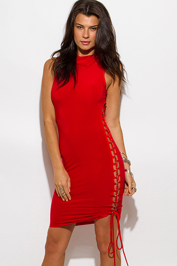 $20 - Cute cheap red lace sexy club dress - red high neck side cutout laceup bodycon club mini dress
