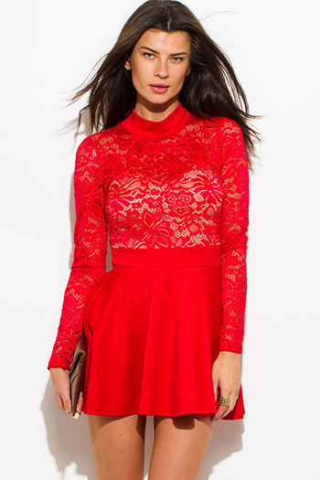 $20 - Cute cheap red fitted party romper - red lace contrast high neck long sleeve fitted cut out open back a line skater cocktail party sexy club mini dress
