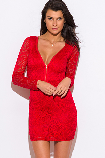 $20 - Cute cheap lace fitted party mini dress - red lace low v neck zip up bodycon fitted sexy clubbing mini dress
