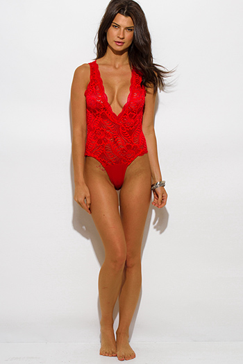 $15 - Cute cheap v neck party top - red sheer lace v neck scallop trim sleeveless sexy clubbing bodysuit top