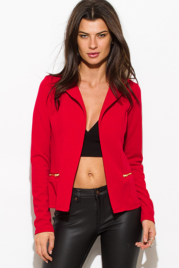 $25 - Cute cheap red quilted faux fur lined front zip banded hooded zipper pocketed crop puffer vest top - red long sleeve open front zipper pocket fitted blazer jacket