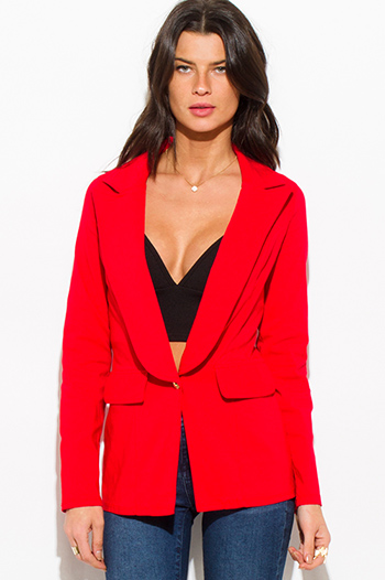 $15 - Cute cheap wine burgundy red classic button close suiting blazer top - red long sleeve single button fitted jacket suiting blazer top