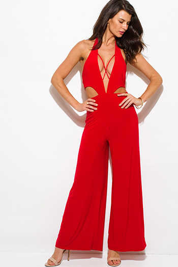 $25 - Cute cheap red fitted sexy party romper - red low cut v neck halter criss cross cut out backless wide leg evening party jumpsuit