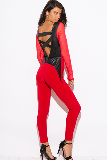$15 - Cute cheap gauze caged jumpsuit - red mesh long sleeve fitted caged cut out backless sexy clubbing catsuit jumpsuit