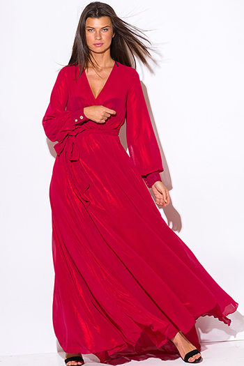 $65 - Cute cheap red dress - red metallic chiffon blouson long sleeve faux wrap formal evening sexy party maxi dress