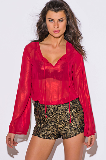 $15 - Cute cheap red fitted sexy party romper - red metallic semi sheer chiffon long sleeve blouse party top