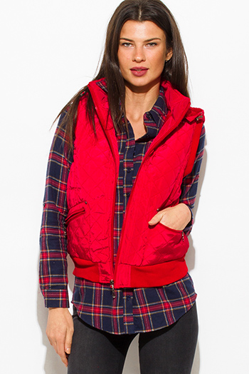 $20 - Cute cheap red quilted faux fur lined front zip banded hooded zipper pocketed cropped puffer vest
