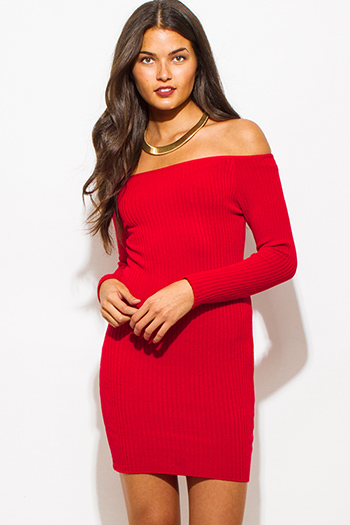 $25 - Cute cheap draped asymmetrical dress - red ribbed knit off shoulder long sleeve fitted bodycon sexy club sweater mini dress