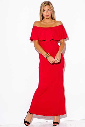 Images of Long Red Off The Shoulder Dress - Reikian