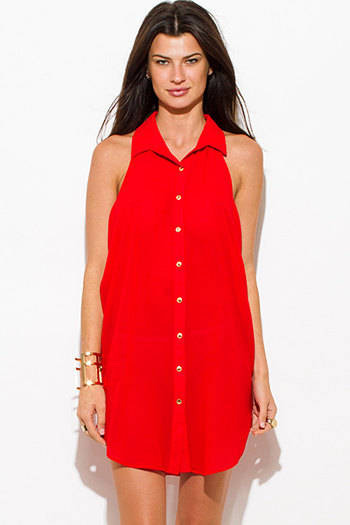 $15 - Cute cheap black multi color print semi sheer chiffon cut out open back off shoulder boho tunic top - red semi sheer chiffon button up racer back tunic blouse top mini dress