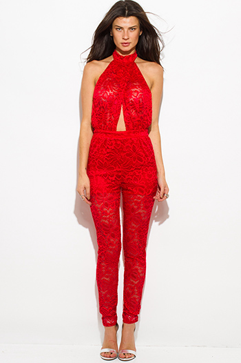 $25 - Cute cheap open back wrap catsuit - red sheer lace faux wrap halter backless catsuit jumpsuit