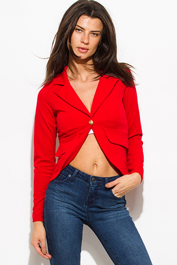 $15 - Cute cheap fitted jacket - red single golden button long sleeve faux pockets fitted blazer jacket top