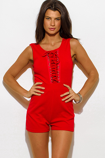 $10 - Cute cheap red bodycon party romper - red sleeveless laceup fitted bodycon sexy clubbing romper jumpsuit