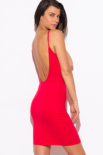 $7 - Cute cheap open back party mini dress - red spaghetti strap backless fitted sexy club mini dress