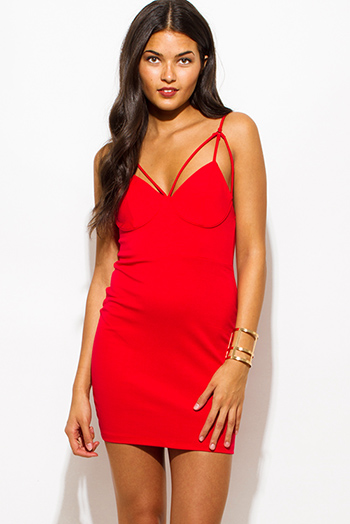 $15 - Cute cheap v neck party mini dress - red sweetheart bustier caged v neck cut out spaghetti strap bodycon fitted pencil sexy club mini dress