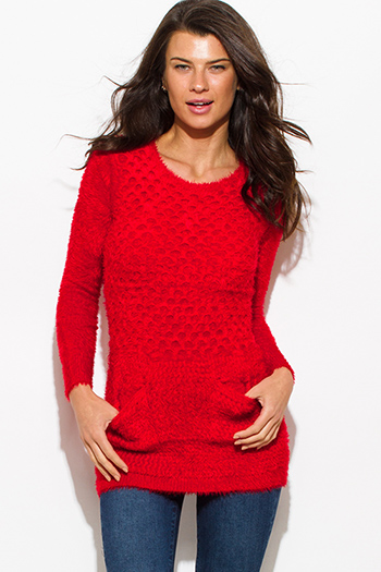$15 - Cute cheap fitted party top - red textured fuzzy sweater pocketed long sleeve fitted sexy club tunic top mini dress