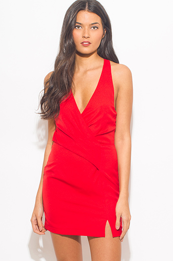 $15 - Cute cheap mesh fitted sexy party mini dress - red v neck faux wrap criss cross back fitted cocktail party mini dress