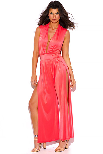 $25 - Cute cheap wide leg sexy party jumpsuit - coral pink deep v neck high slit wide leg evening party jumpsuit
