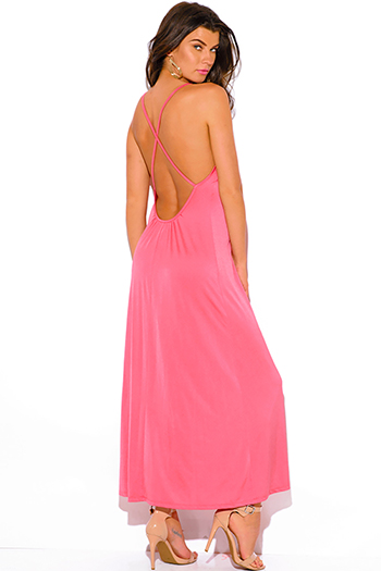 $10 - Cute cheap backless open back formal maxi dress - rosey coral deep v neck criss cross backless formal evening sexy party maxi dress