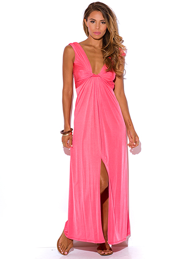 $15 - Cute cheap bright white ruched deep v high slit evening maxi dress 99450 - coral knot front deep v neck high slit backless formal evening sexy party maxi dress