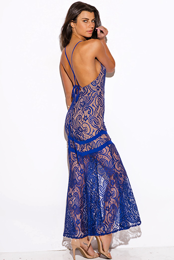 $15 - Cute cheap draped asymmetrical maxi dress - royal blue baroque lace high slit backless formal evening cocktail sexy party maxi dress