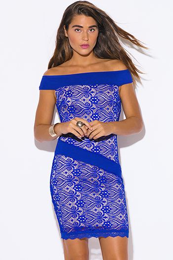 $15 - Cute cheap blue sheer sexy club bodysuit - royal blue baroque lace off shoulder fitted cocktail party club mini dress