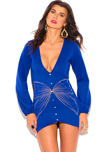 $15 - Cute cheap top tunic - royal blue bejeweled bow deep v neck gold button sexy party tunic top