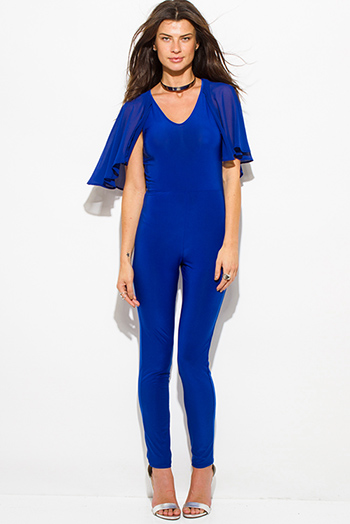 $25 - Cute cheap blue mesh jumpsuit - royal blue butterfly flutter ruffle sleeve v neck cape keyhole back tie bodycon fitted sexy clubbing catsuit jumpsuit