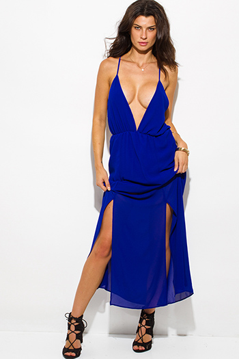 $25 - Cute cheap blue sexy party dress - royal blue chiffon deep v neck double high slit criss cross backless evening party maxi dress