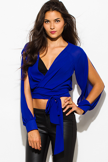 $15 - Cute cheap dark royal blue chiffon shirred quarter length blouson sleeve boho blouse top - royal blue chiffon slit blouson sleeve wrap front crop blouse top