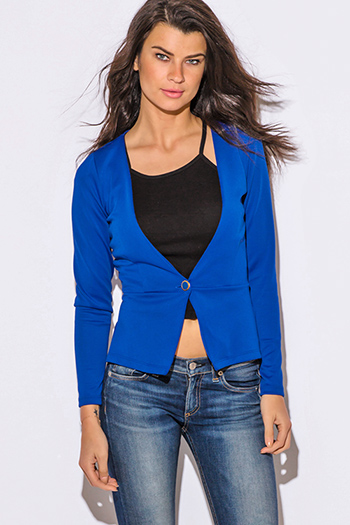 $10 - Cute cheap cute juniors fitted career blazer jacket 55345 - royal blue collarless single button fitted scuba blazer jacket