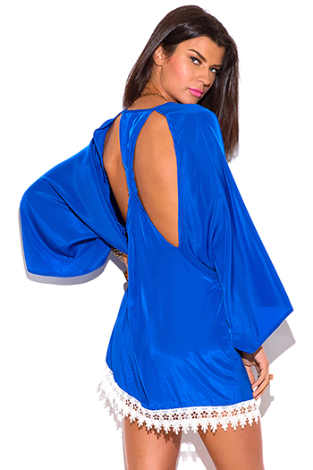 $15 - Cute cheap navy blue semi sheer chiffon cut out open back off shoulder boho tunic top - royal blue cut out back crochet trim kimono sleeve backless boho tunic mini dress