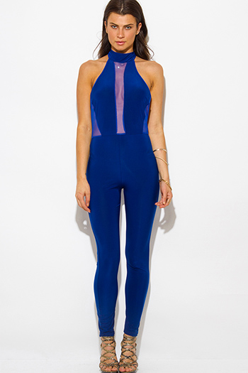 $20 - Cute cheap blue fitted sexy club catsuit - royal blue halter high neck backless mesh panel fitted bodycon clubbing catsuit jumpsuit
