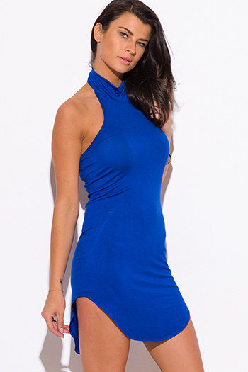 $15 - Cute cheap blue fitted sexy club dress - royal blue high neck fitted clubbing mini dress