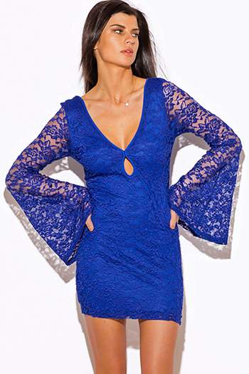 $15 - Cute cheap blue backless fitted dress - royal blue lace deep v neck cut out backless long bell sleeve fitted boho sexy club mini dress