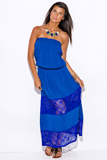 $25 - Cute cheap blue draped maxi dress - royal blue lace trim strapless drop waist summer boho maxi sun dress