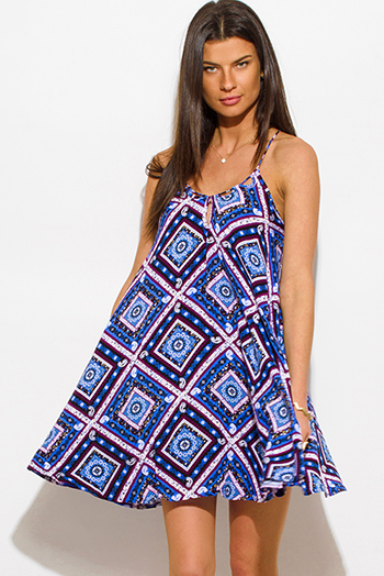 $15 - Cute cheap print slit kimono dress - royal blue multicolor tribal print halter criss cross back boho mini sun dress