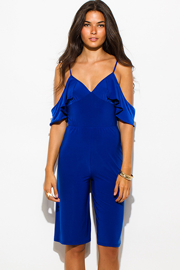 $20 - Cute cheap royal blue mesh bodysuit - royal blue off shoulder bustier v neck flutter sleeve wide leg evening sexy party playsuit jumpsuit