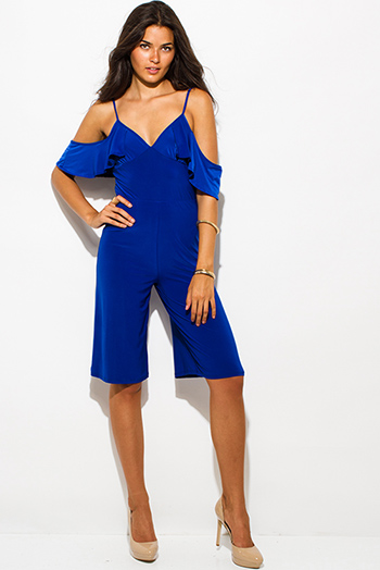 $12 - Cute cheap blue sexy party romper - royal blue off shoulder bustier v neck flutter sleeve wide leg evening party playsuit jumpsuit