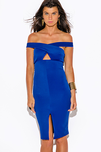 $15 - Cute cheap off shoulder dress - royal blue off shoulder cut out slit pencil cocktail party bodycon fitted sexy clubbing midi dress