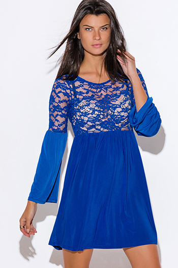 $10 - Cute cheap light pink sheer lace high neck backless mini dress - royal blue sheer lace bell sleeve boho sexy club mini dress