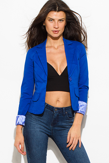 $15 - Cute cheap blazer - royal blue single button fitted pinstripe cuffed suiting blazer jacket top