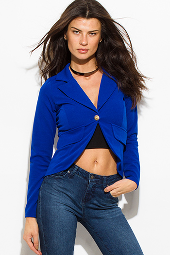 $15 - Cute cheap royal blue sheer catsuit - royal blue single golden button long sleeve faux pockets fitted blazer jacket top