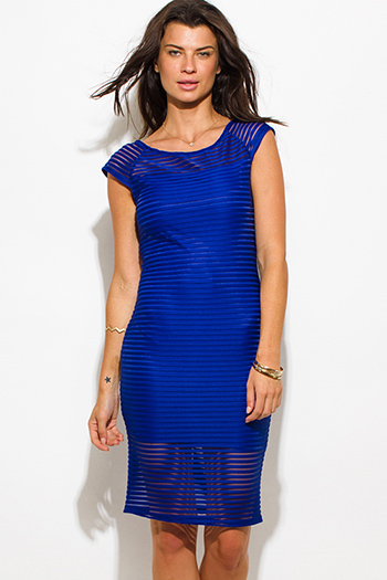$15 - Cute cheap blue sexy party dress - royal blue stripe mesh boat neck cap sleeve fitted evening party cocktail midi dress